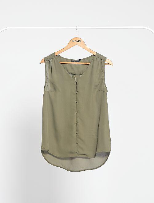 Camisa vaporosa sin mangas                                                                                                                 KAKI