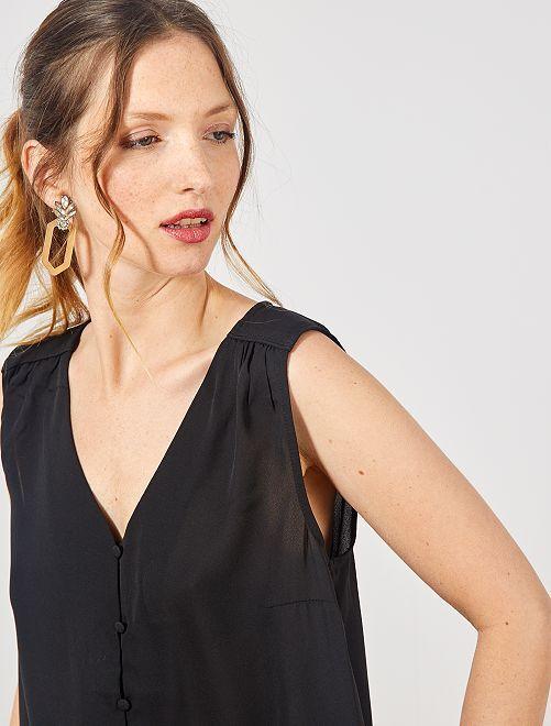 Camisa vaporosa sin mangas                                                                             negro