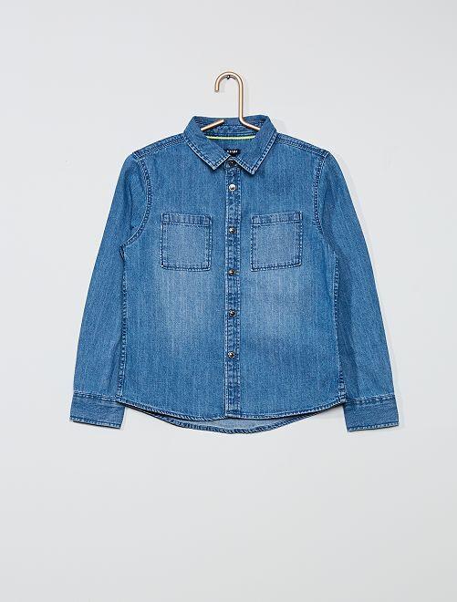 Camisa vaquera de algodón puro                             AZUL