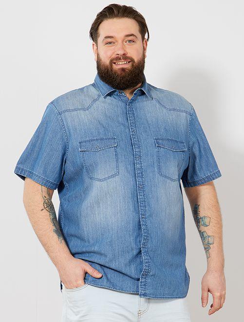 Camisa vaquera recta                             AZUL Tallas grandes hombre