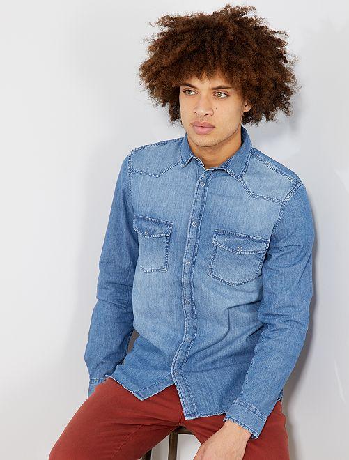 Camisa vaquera recta                                         stone Hombre