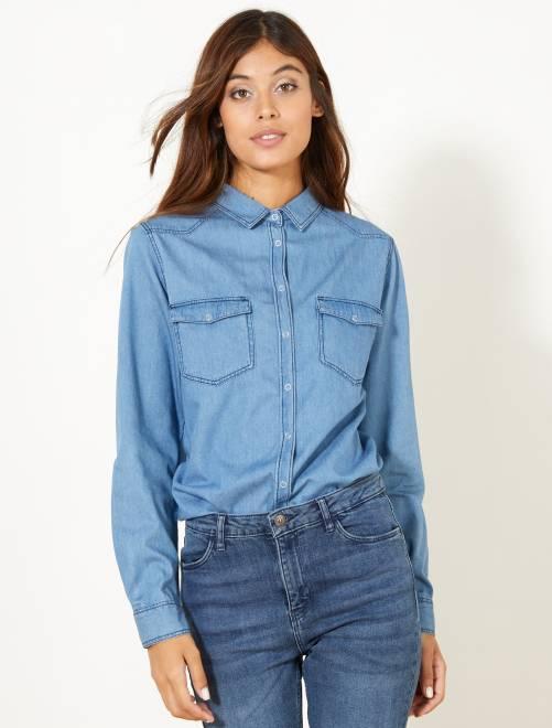 Camisa vaquera regular                             AZUL Mujer talla 34 a 48