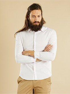 Hombre - Camisa vichy entallada de popelina - Kiabi