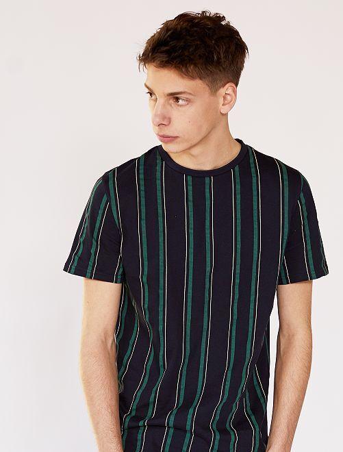 Camiseta a rayas                             AZUL