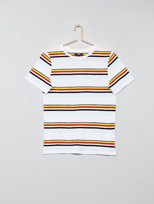 Camiseta a rayas                                 blanco a rayas Joven niño