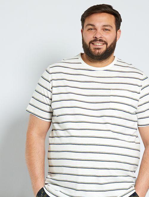 Camiseta a rayas                                                     BLANCO