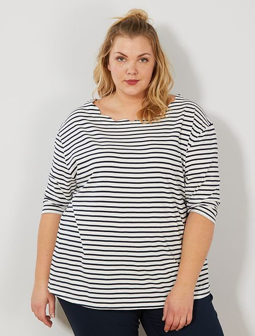 Camiseta a rayas con cuello festoneado                             BLANCO Tallas grandes mujer