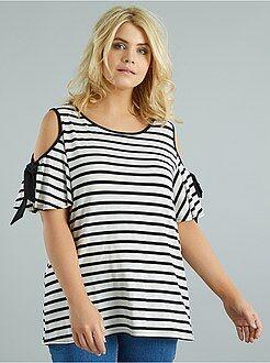 Tallas grandes mujer - Camiseta a rayas con hombros descubiertos - Kiabi