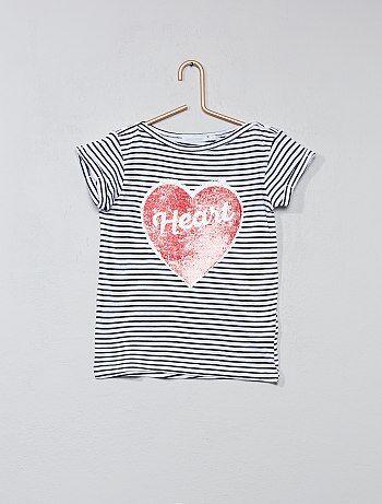 Camiseta a rayas con lentejuelas reversibles - Kiabi