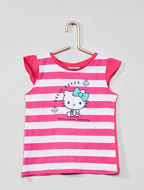 Camiseta a rayas 'Hello Kitty'                                         rosa blanco Chica
