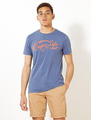 Camiseta ajustada con estampado 'Enjoy Life' - Kiabi