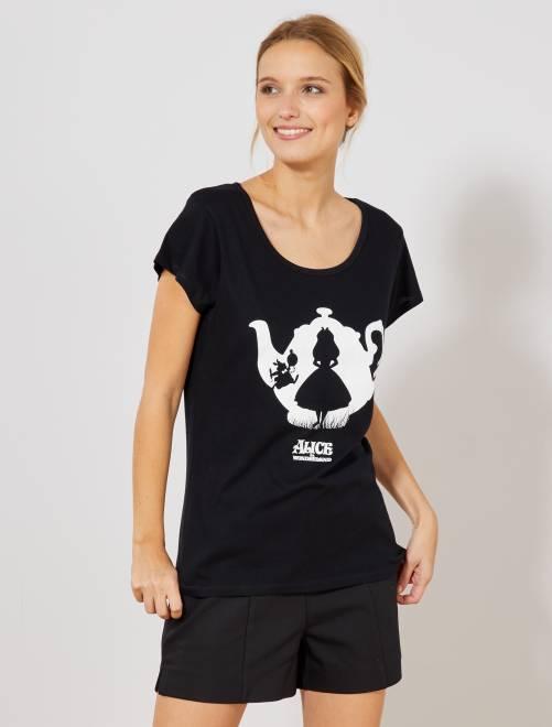 Camiseta 'Alicia en el país de las maravillas'                             negro