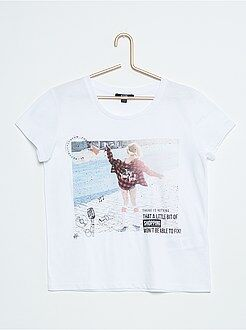 Niña 10-18 años Camiseta ancha estampada