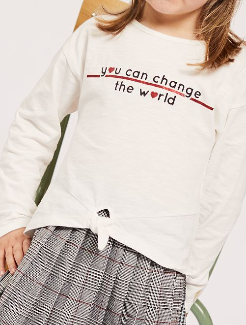 Camiseta anudada con mensaje                     BEIGE