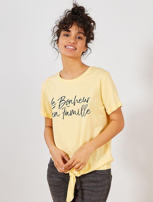 Camiseta anudada de algodón orgánico                                         AMARILLO Mujer talla 34 a 48