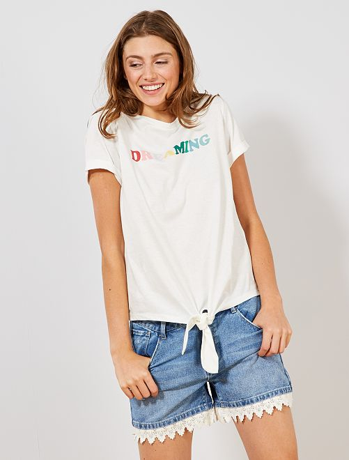 Camiseta anudada de algodón orgánico                                         BLANCO Mujer talla 34 a 48