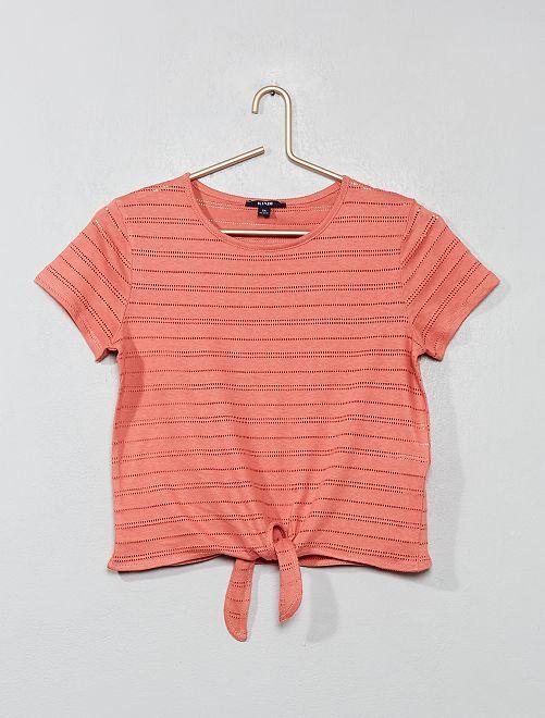 Camiseta anudada de punto calado                     ROSA Joven niña