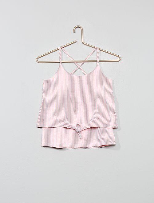 Camiseta anudada de tirantes cruzados en la espalda                                                                             viejo rosa