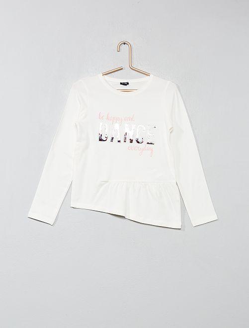 Camiseta asimétrica con adornos                                         BLANCO Chica