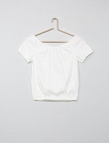a4fc0b641 Camiseta bardot con bordado inglés - Kiabi