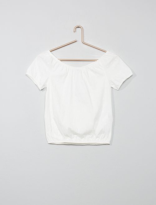 Camiseta bardot con bordado inglés                                 blanco nieve Chica