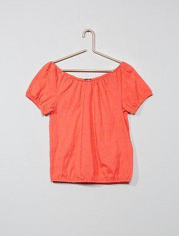 a631d9db0 Camiseta bardot con bordado inglés - Kiabi