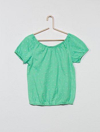 6b3ee3ab6 Camiseta bardot con bordado inglés. 6,00€ más colores X. Camiseta sin mangas  con lentejuelas reversibles 'Campanilla' - Kiabi