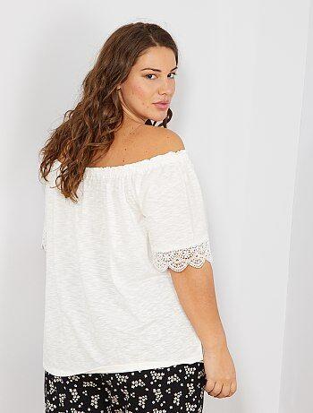 3a1622b43e Tallas grandes mujer - Camiseta Bardot con galones - Kiabi