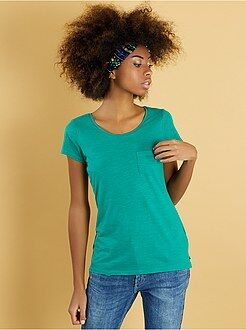 Mujer Camiseta básica con bolsillo en el pecho