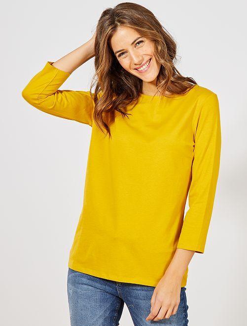 Camiseta básica con escote barco                                                                                                                                                                                                                                         amarillo bronce