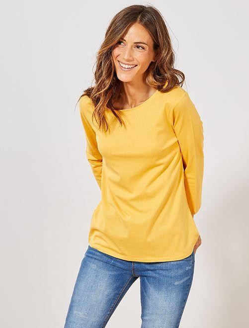 Camiseta básica con escote barco                                                                                                                                                     AMARILLO Mujer talla 34 a 48