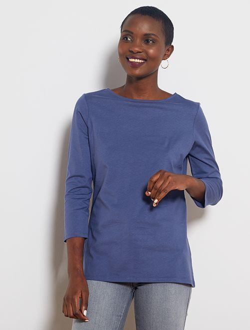 Camiseta básica con escote barco                                                                                                                                                                                                                                         azul índigo