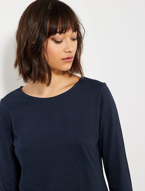 Camiseta básica con escote barco                                                                                 azul