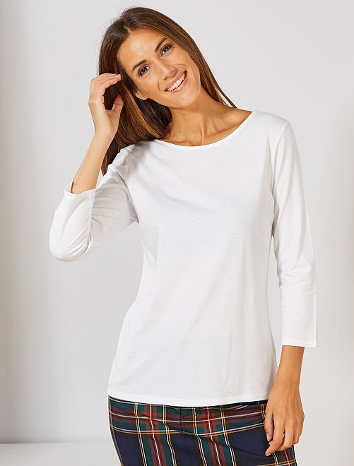 Camiseta básica con escote barco                                                                                                                                                                                                                                         blanco