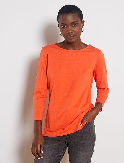 Camiseta básica con escote barco                                                                                                                                                                                                                                         naranja