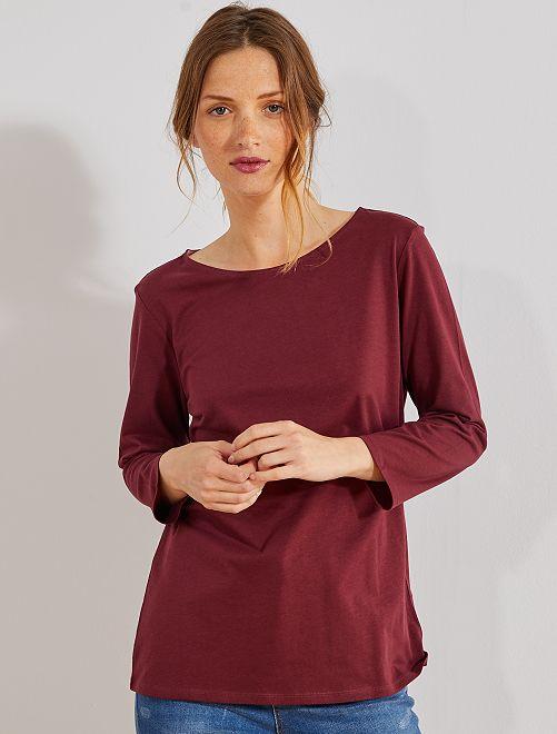 Camiseta básica con escote barco                                                                                                                                                     rojo burdeos Mujer talla 34 a 48