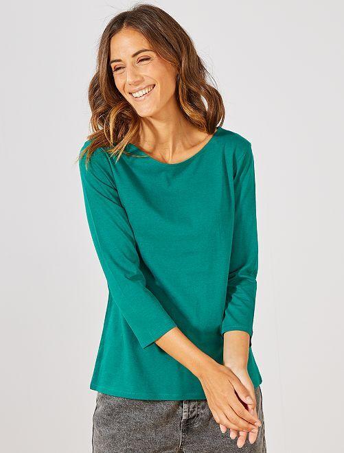 Camiseta básica con escote barco                                                                                                                                                     VERDE Mujer talla 34 a 48