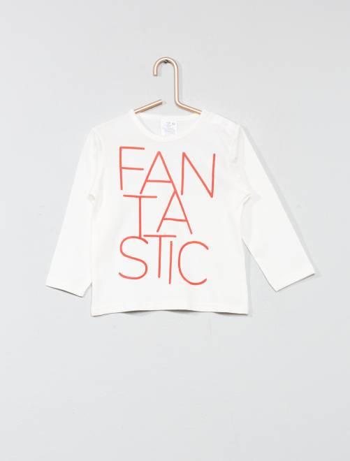 Camiseta básica con estampado                                         BLANCO Bebé niño