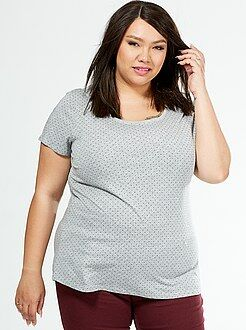Tallas grandes mujer Camiseta básica de algodón