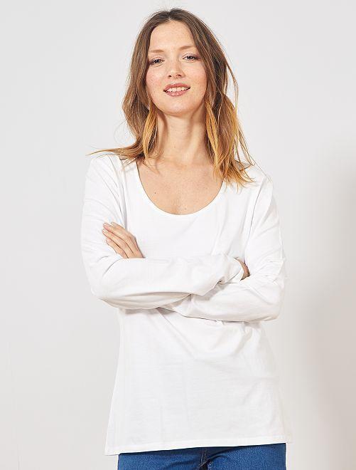 Camiseta básica de manga larga                                         blanco