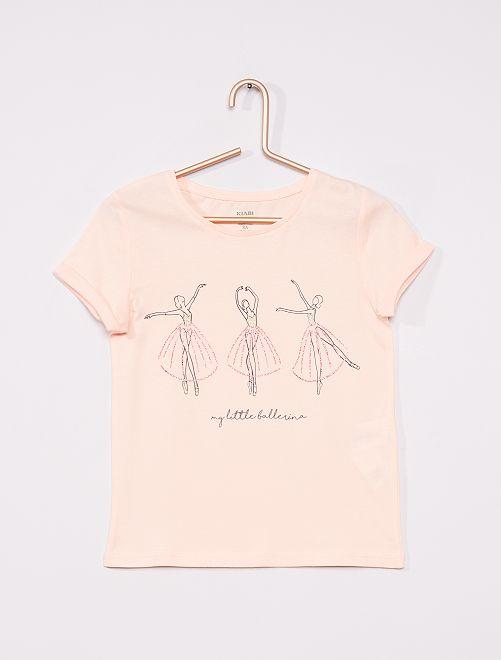 Camiseta básica estampada                                         ROSA