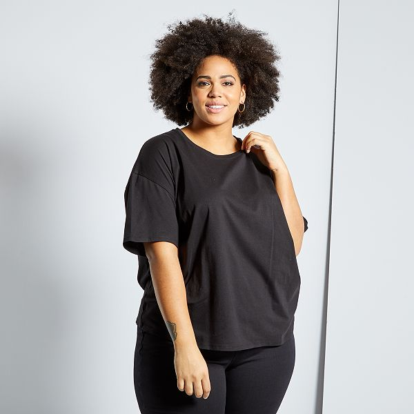 Camiseta Basica Oversize Tallas Grandes Mujer Negro Kiabi 8 00