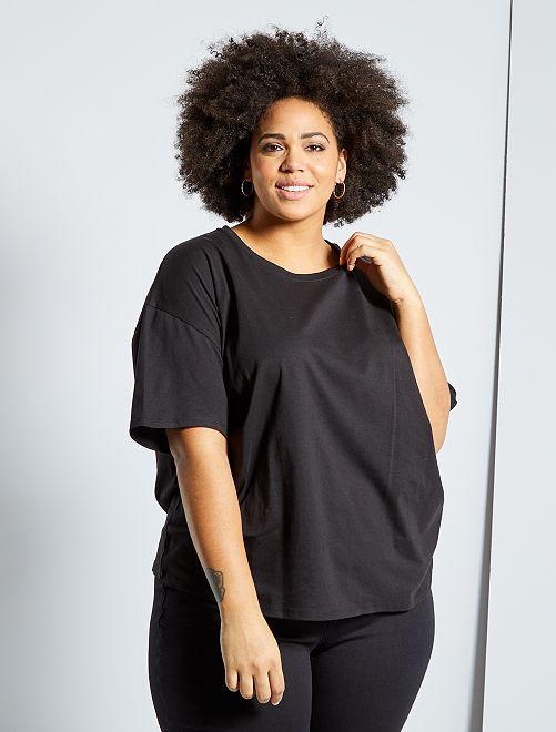 Camiseta básica oversize                                                     negro