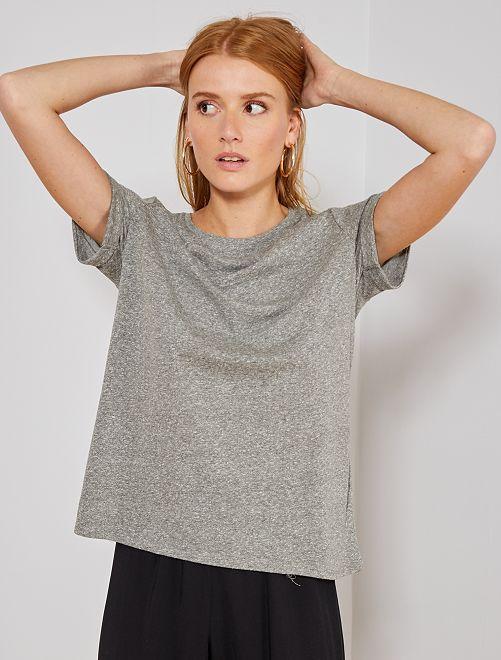 Camiseta básica vaporosa Eco-Concepció                             GRIS
