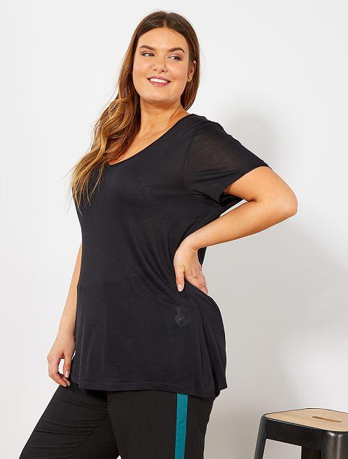 Camiseta básica vaporosa                                                                             negro Tallas grandes mujer