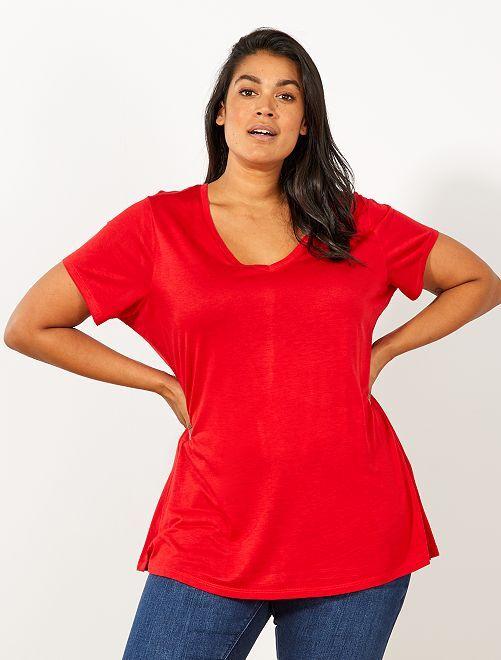Camiseta básica vaporosa                                                                 ROJO Tallas grandes mujer