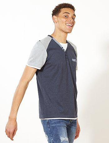 Camiseta bicolor con cuello panadero - Kiabi
