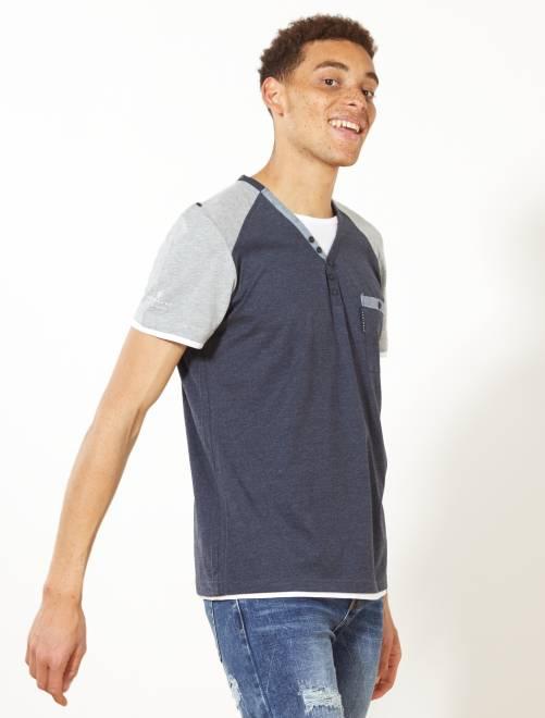Camiseta bicolor con cuello panadero                             azul petróleo/gris Hombre