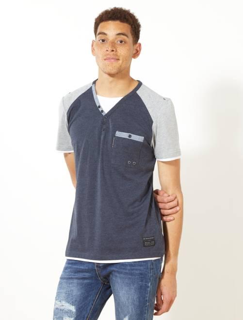 2ff0b842b98 Camiseta bicolor con cuello panadero Hombre - Kiabi - 8