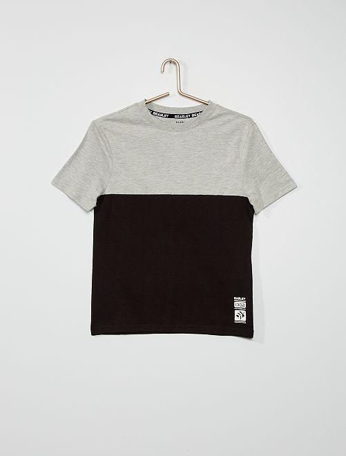 Camiseta bicolor de punto                     NEGRO